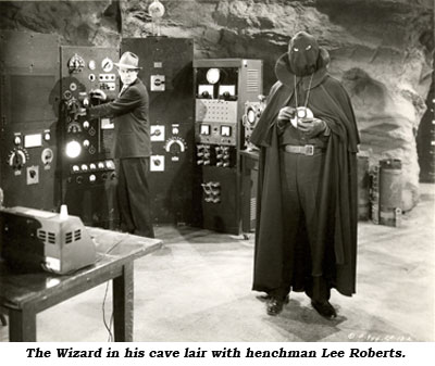 The Wizard in his cave lair with henchman Lee Roberts.