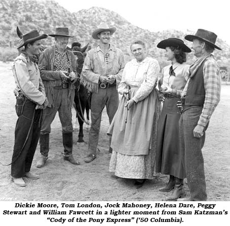 "Dickie Moore, Tom London, Jock Mahoney, Helena Dare, Peggy Steward and William Fawcett in a lighter moment from Sam Katzman's ""Cody of the Pony Express"" ('50 Columbia)."