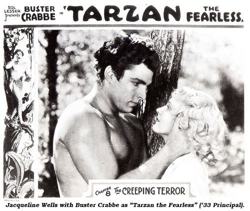 "Jacqueline Wells with Buster Crabbe as ""Tarzan the Fearless"" ('33 Principal)."