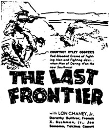 "Ad for ""The Last Frontier""."
