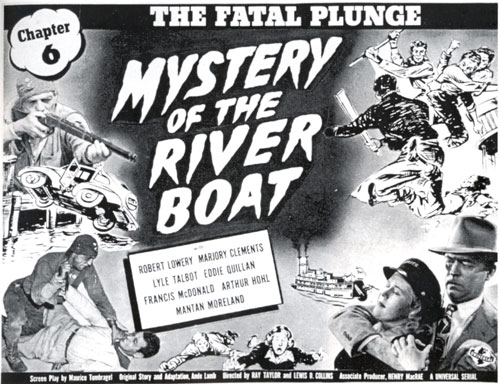"Title card for Chapter 6 of ""Mystery of the Riverboat""."