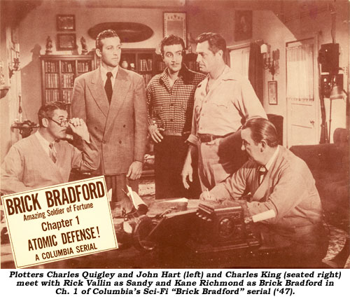 "Plotters Charles Quigley and John Hart (left) and Charles King (seated right) meet with Rick Vallin as Sandy and Kane Richmond as Brick Bradford in Ch. 1 of Columbia's Sci-fi ""Brick Bradford"" serial ('47)."