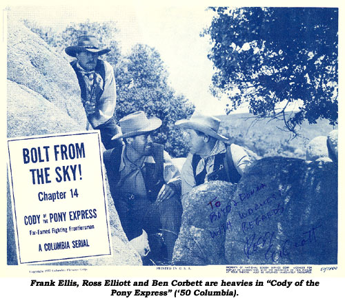 "Lobby card from ""Cody of the Pony Express"". Ch. 14 ""Bolt from the Sky""."