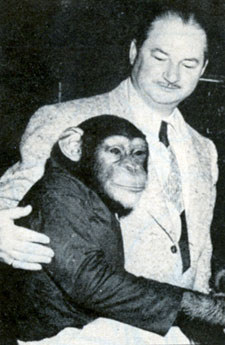 Columbia serial producer Sam Katzman with Tamba the chimp in December 1952.