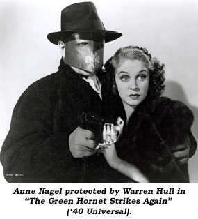 "Anne Nagel protected by Warren Hull in ""The Green Hornet Strikes Again"" ('40 Universal)."