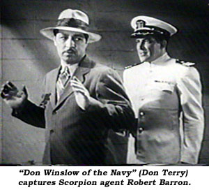 """Don Winslow of the Navy"" (Don Terry) captures Scorpion agent Robert Barron."