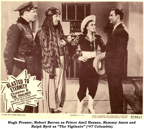 """Brick Bradford"" (Kane Richmond) and Pierre Watkin address the Moon Queen (Carol Forman) as (L-R) Gene Roth, unknown girl, Robert Barron as Zuntar, and John Merton watch attentively."