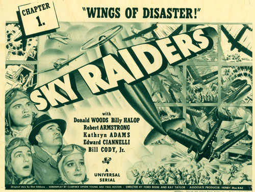 "Title card for ""Sky Raiders"" ('41 Universal)."