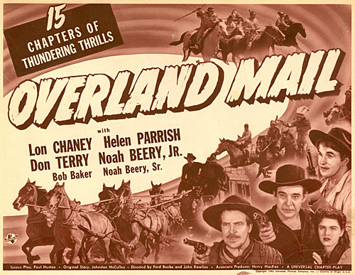 "Title card for ""Overland Mail"" serial starring Lon Chaney Jr."
