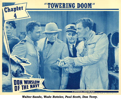 "Walter Sande, Wade Boteler, Paul Scott, Don Terry in ""Don Winslow of the Navy"" Ch. 4 lobby card."