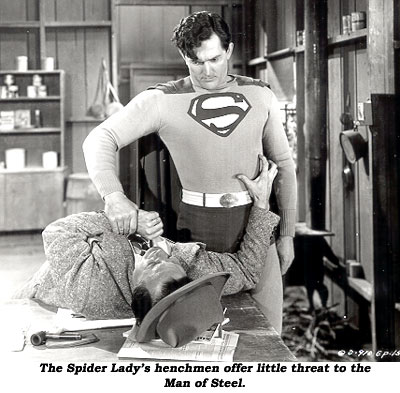 The Spider Lady's henchmen offer little threat to the Man of Steel.