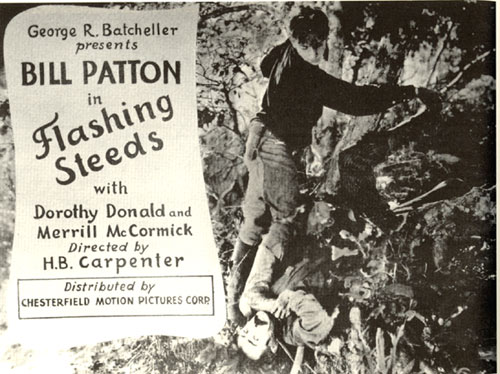 "Lobby card from ""Flashing Steeds"" with Bill Patton."