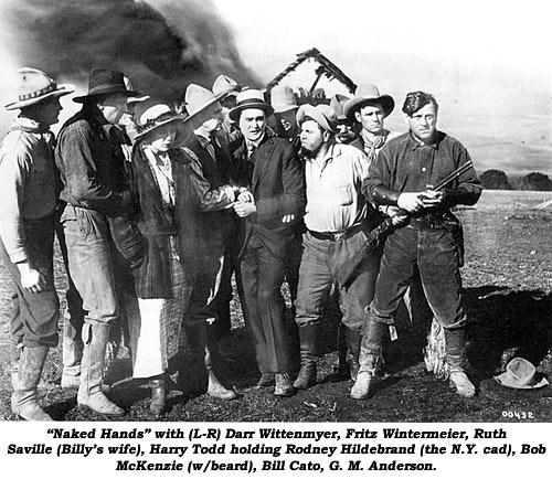 """Naked Hands"" with (L-R) Darr Wittenmyer, Fritz Wintermeier, Ruth Saville (Billy's wife), Harry Todd holding Rodney Hildebrand (the N.Y. cad), Bob McKenzie (w/beard), Bill Cato, G. M. Anderson."