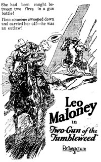 "Leo Maloney starrijng in ""Two-Gun of the Tumbleweed"" newspaper ad."