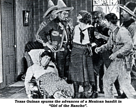 "Texas Guinan spurns the advances of a Mexican bandit in ""Girl of the"