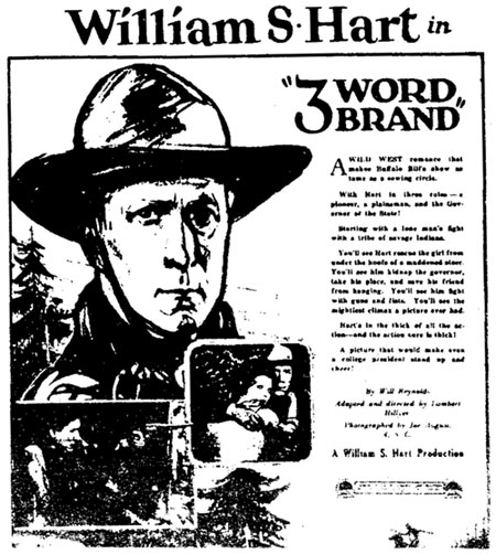 "Newspaper ad for ""Three Word Brand"" starring William S. Hart."