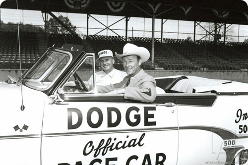 Roy Rogers rides in the official 1954 Dodge Royal, the Indy 500 Pace Car