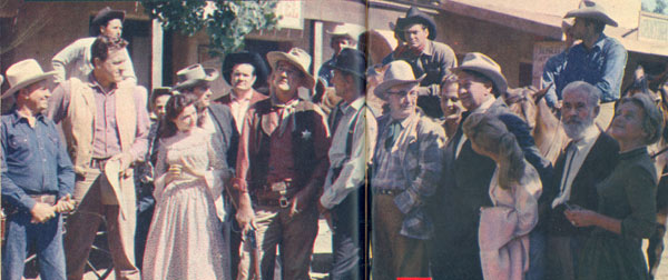 "On June 8, 1958, NBC's 90 minute Sunday afternoon ""Wide Wide World"", narrated by Dave Garroway, paid tribute to ""The Western."" To trace the evolution of the western, a host of movie and TV western stars gathered for filming of the documentary at Gene Autry's Melody Ranch where this historic photo was taken and appeared in TV GUIDE November 8-14, 1958."