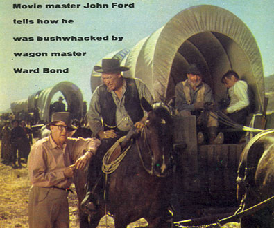 "Director John Ford consults with ""Wagon Train's"" Ward Bond on the cover of TV GUIDE."