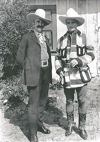 "Rare photo of bit player Tex Cooper and Tom Mix. Probably taken in the early '20s although the ""Taken"" date on the right of the photo seems to read 4-10-1, which makes no sense. (Photo submitted by Bobby Copeland.)"