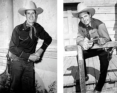 "Great poses of Kermit Maynard and Ray ""Crash"" Corrigan taken while they were guest starring in Roy Rogers' ""Trail of Robin Hood"" (‹50 Republic)."