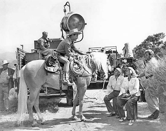 "Roy Rogers and Trigger on location for ""The Golden Stallion"" ('49 Republic)."