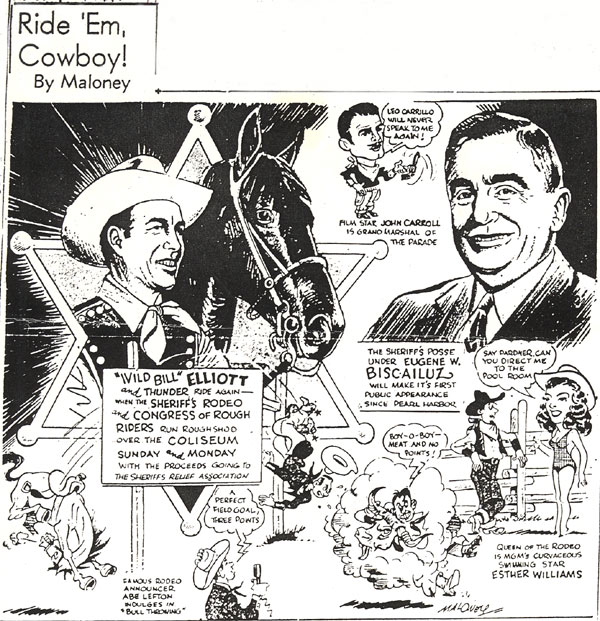 Sports cartoon for the L. A. EVENING HERALD EXPRESS on August 31, 1945.