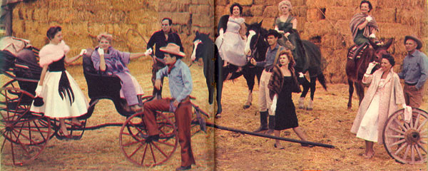 "Many women scripted TV westerns. Shown in this TV GUIDE spread from June 6, 1959, are (l-r) Kathleen Hite (""Gunsmoke"", ""Wagon Train""), Fanya Lawrence (""Have Gun Will Travel"", ""Restless Gun"") and her husband, badman Marc Lawrence (in black), Will (""Sugarfoot"") Hutchins (in foreground), Virginia Cooke (""Roy Rogers"", ""Sugarfoot""), Mary McCall (""Restless Gun"") (both on horseback), Dennis (""Gunsmoke"") Weaver, Ruth Woodman (""Death Valley Days"") on the mule with Terry (""Wagon Train"") Wilson steadying her mount. In the foreground are Pat Fielder (""Rifleman"") and Gerry Day (""Wagon Train"") who surveys the situation with opera glasses."