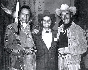 Iron Eyes Cody, Don and Eddie Dean at a Hollywood get-together circa 1978.