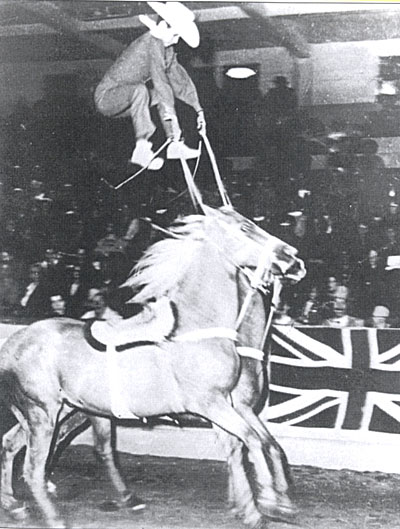 "Don floats above horses Dan and Don in 1953 at the Vancouver, British Columbia International Invitational Horse Show. 7,500 people in the audience gave Jug ""the only standing ovation in my career. It lasted a full 10 minutes."""