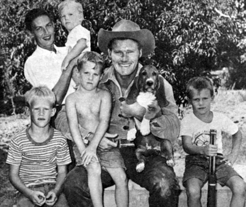 Chuck with his family in late 1958...(L-R) Mike, 8, Jeff, 6, Steve, 5, Kevin, 2 in wife Betty's arms.