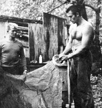 Clint Walker, his cousin Bob Walker and friend Don Wyatt spent a weekend in 1959 for an adventure on the Feather River in California. First up, rig the tents!