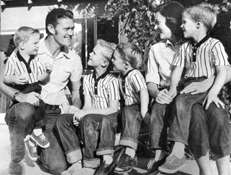 Chuck Connors and family in 1959. Michael, Jeff, Steven, Kevin and wife Elizabeth.