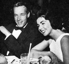 "TV's ""Wild Bill Hickok"", Guy Madison, and wife Shelia enjoy a night out in 1957."