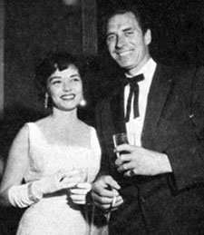 A night on the town at Ciro's for Jock Mahoney and wife Maggie in 1957.
