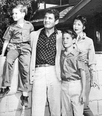 """Bat Masterson""—Gene Barry, his wife Betty, sons Frederic and Michael."