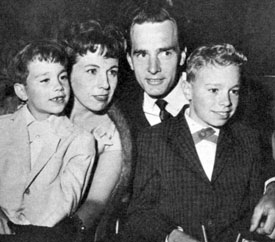 """Gunsmoke""—Dennis Weaver with wife Geraldine and sons Rusty (left) and Robert."