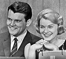"""The Outcasts""—Don Murray and Hope Lange guesting on  ""What's My Line"" game show."