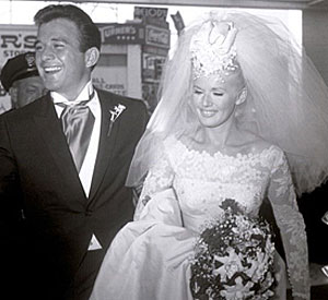 """Lancer""—James Stacy and bride Connie Stevens were wed October 12, 1963."