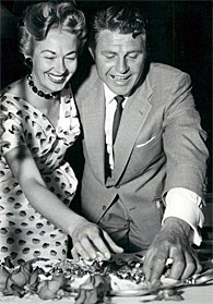 """Stories of the Century""—""We're hungry!"" Jim Davis and wife Blanche in '54."