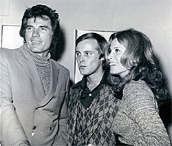 """Texas John Slaughter""—Tom Tyron with Paul Hauge and Stephanie Powers at the opening of Hauge's one-man art show at McKenzie Gallery in Hollywood."