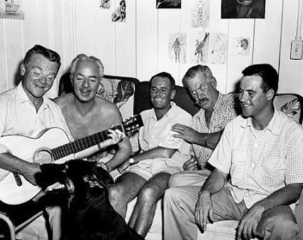 """Wagon Train""—Ward Bond has some fun with (L-R) James Cagney, William Powell, Henry Fonda and Jack Lemmon, as the cast of ""Mr. Roberts"" ('55) relax backstage."