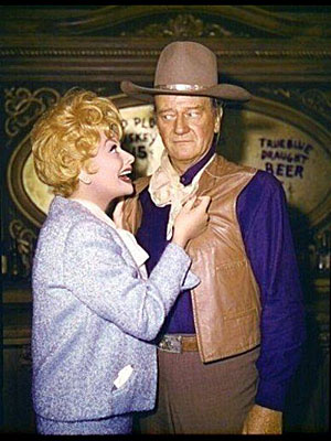 Lucy threatens John Wayne! And Duke seems to believe it!