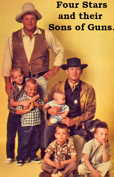 "(Top) Dan Blocker (""Bonanza"") and sons Dave, 6; Dirk, 3.   Don Collier (""Outlaws"") and sons baby Steven James, Don Jr. and David Richard, both 6."