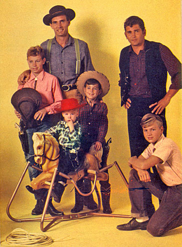 "(Bottom) Dennis Weaver (""Gunsmoke"") with Rick, 12; Rusty, 2; Rob, 8.   Michael Landon (""Bonanza"") and Mark, 12."