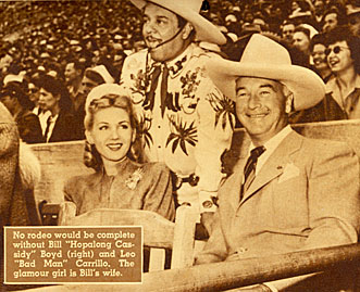 Leo Carrillo, Grace Bradley and William Boyd (Hopalong Cassidy) at rodeo.