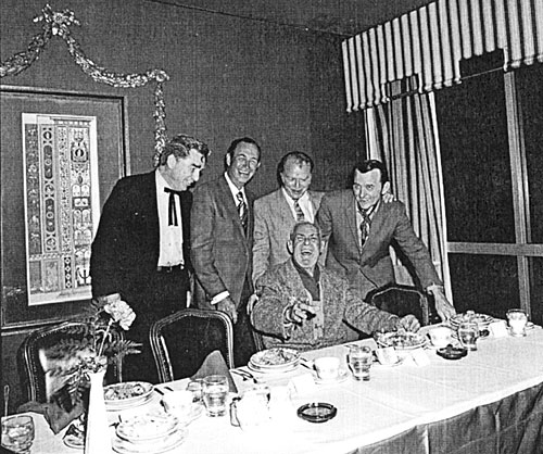 (L-R) Lash LaRue, Eddie Dean, Don Barry, Jimmy Wakely and Ken Maynard are feted  at the Hollywood Press Club in April 1971.