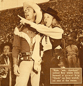Roy and Dale in 1945 at a Roy Rogers Rodeo in California.