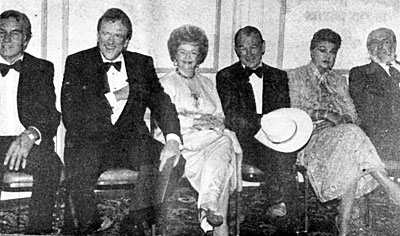 (L-R) George Montgomery, James Arness, Dale Evans, Roy Rogers, Esther Williams and Jock Mahoney at the Stuntmen's Life Achievement Awards dinner in 1983.