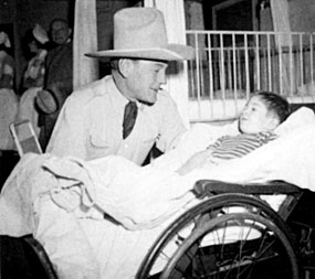 Buck Jones visited children's hospitals whenever and wherever he could.